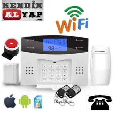Wifi Ev Ofis Alarm Güvenlik Seti Kablosuz Sabit Telefon GSM SMS Bildirimli Android iOs Uygulamalı